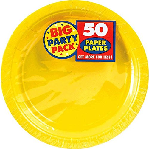 AMSCAN-Big-Party-Pack-Paper-Luncheon-Plates-7-Inch-50Pkg-Sunshine-Yellow