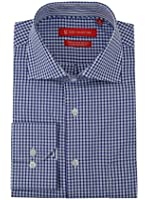 Gino Valentino Mens Check Dress Shirt GiftBox Cotton Spread Collar Barrel Cuff
