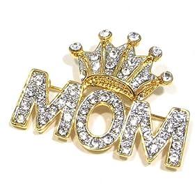 Clear Austrian Rhinestone Royal Crown & MOM Gold-Tone Brooch Pin (Great gift for Mom)