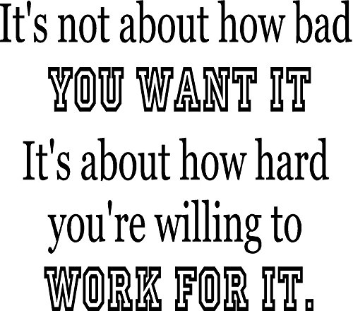 How Bad You Want It...Work For It Fitness Motivational Gym Vinyl Wall Decal Black