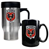 DC United MLS Stainless Steel Travel Mug and Black Ceramic Mug Set - Primary Team Logo