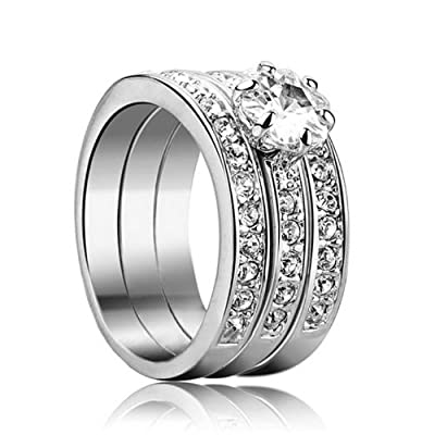 Yoursfs Three in One Love Classic Silver Plated Solitaire Ring with Simulated Diamond Band Ring Set