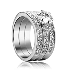 buy Yoursfs Fashion 18K White Gold Plated Love Rings Use Austrian Crystal Trinity Rhinestone Wedding And Engagement Ring (7)