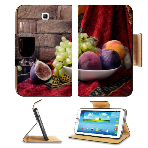 Figs Grapes Fruit Juice Plate Samsung Galaxy Tab 3 7.0 Flip Case Stand Magnetic Cover Open Ports Customized Made To Order Support Ready Premium Deluxe Pu Leather 7 12/16 Inch (190Mm) X 5 5/8 Inch (117Mm) X 11/16 Inch (17Mm) Liil Galaxy Tab3 Cases Tab_7.0 front-749862