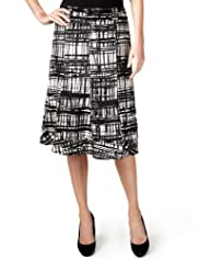 Per Una Pure Linen Crossboard Print Skirt with Belt [T62-2669J-S]