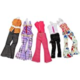 Kingso Set Of 5 Handmade Blouse Trousers Clothes Casual Wear Outfit For Barbie Doll