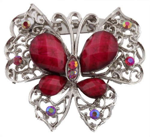 Ladies Silver with Fuchsia Butterfly Brooch & Pin Pendant with Pear Shape Stones