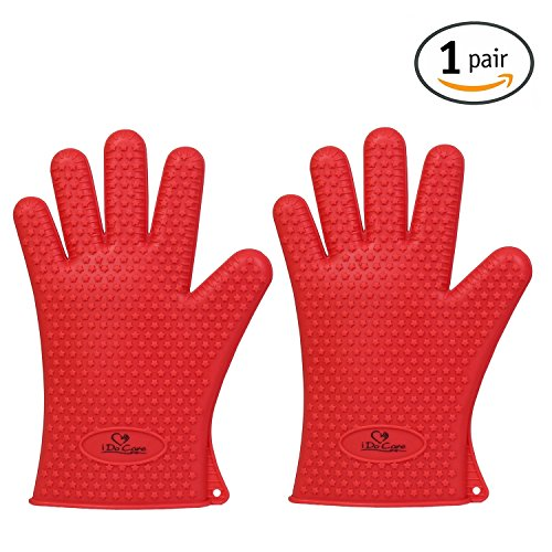 iDoCare Heat Resistant Silicone Gloves BBQ Grilling Gloves Oven Mitts - Most Flexible & Waterproof - Best For Cooking, Baking, Frying, Smoking, Potholder & Barbeque - For Men and Women - Red (Small Size Oven Mitt compare prices)