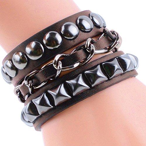 Moda gioielli braccialetto bracciale Mens fatti a mano mestiere DIY Braccialetto tessuto multistrato 4 colore marrone
