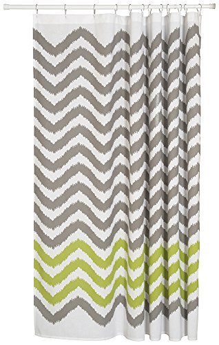Now Designs Cotton Shower Curtain, Chevron Print, Gray (Grey And Green Shower Curtain compare prices)