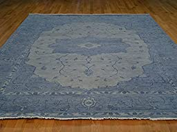 9 x 12 HAND KNOTTED OVERDYED SKY BLUE SERAPI ORIENTAL RUG G16976