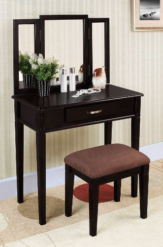 William's Home Furnishing Black Tri-mirror Vanity