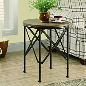 Monarch Metal/Brown Veneer Top Accent Table, 20-Inch Diameter, Bronze