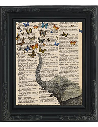 Dictionary Art Print Whimsical Elephant And Butterflies