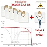 Bosch GAS 25 Filter Bags (5 Bags + 1 ZIP Bag) *** NEW! *** More Efficient Replacement