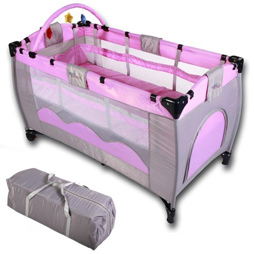 Baby bed travel cot furniture cribs portable child bed with toys entryway 0-36 months pink