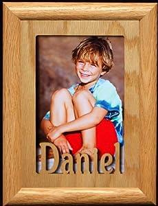 5x7 Daniel ~ Portrait Laser Cut Oak PHOTO NAME FRAME ~ Holds a 4x6 or