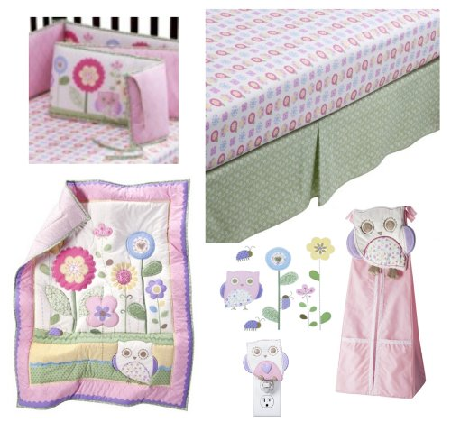 5 pc Circo Baby Girl Owls and Floral She's my Friend Collection- Includes: Owls and Floral 3 Pc Nursery set (comforter, sheet, dust ruffle), Floral Crib Bumper, Petit Fleur Diaper Stacker, Owl Night light, & Petit Fleur Owls and FloralCirco Wall Art Deca