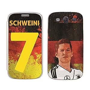 Bluegape Samsung Galaxy S3 i9300 Bastian Schweinsteiger Football Player Mobile Skin for flip Cover, Multicolor