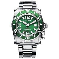 JIUSKO Deep Sea 69LSGR16 Mens 24 Jeweled Automatic 300m Titanium Divers Watch, Green Dial
