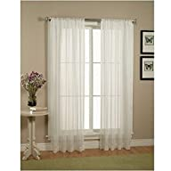 2 Piece Solid White Sheer Window Curt…