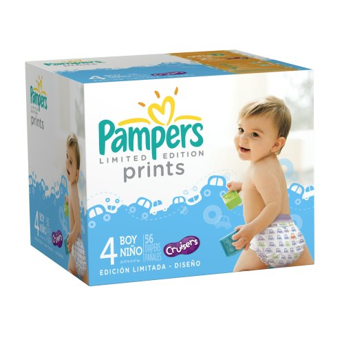 Pampers Limited Edition Prints Diapers for Boys, Size 4, 56 Count