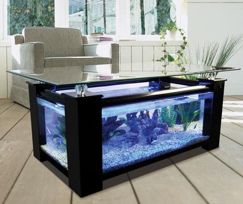 48gl Rectangular Coffee Table Aquarium with pump, light, filter and completely fish...