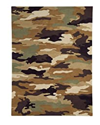 Area Rug, Army Kids Boys Camouflage Soft Wool Carpet, 5\' X 8\'