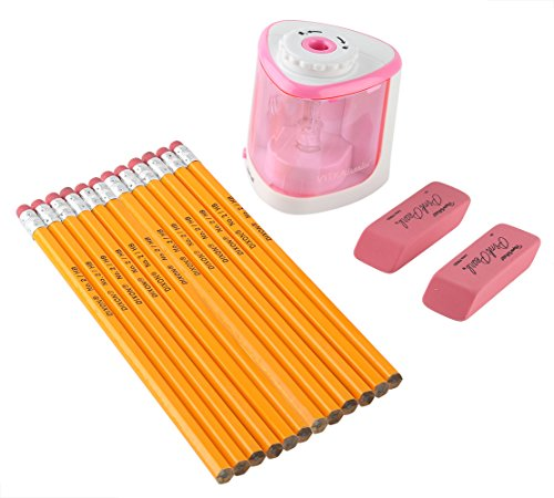 VITKAtronics Set 1 Battery Operated Pencil Sharpener 1 Dozen Pencils 2 erasers (Pink) (Robot Vacuum Mario compare prices)