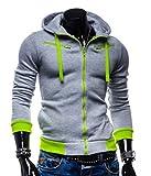 (ペプ) PEPU カジュアル フード 付き ジップ パーカー メンズ 無地 ワンポイント カラー 長袖 (XL, グレー)