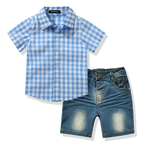 Toddler Boy's Clothes Short Sleeved Plaid Woven Shirt With Denim Shorts Sets (2 years, Blue) (Summer Toddler Clothes compare prices)