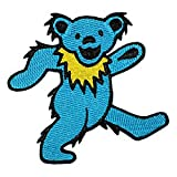 """Grateful Dead Garcia 3 1/2"""" Blue Dancing Bear Embroidered Iron On Patch p1265"""