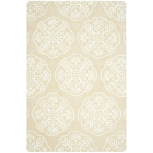 Safavieh Bella Collection BEL711A Handmade Beige and White Wool Area Rug, 6 feet by 9 feet (6' x 9')