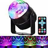 GLISTENY Mini Disco LED Ball Light 3w RGB Colorful Sound Actived Strobe Stage Crystal Rotating Lighting with Remote Control For KTV Bar DJ Ballroom Home Club Wedding Show US Plug