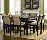 9pc Counter Height Dining Table & Stools Set Cappuccino Finish