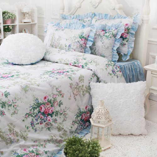 simply shabby chic ruffle quilt and 2 standard sized shams whitecheck price fadfay home textilevintage blue floral bedding set blue shabby chic bedding