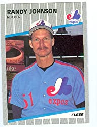 Randy Johnson baseball card 1989 Fleer #381 (Montreal Expos - Mariners Diamondbacks hall of Famer rookie card)