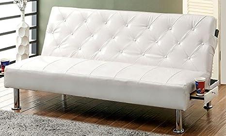 Farel Futon Sofa in White by Furniture of America