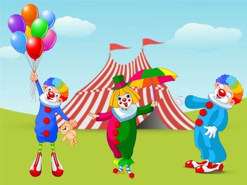 Nursery Circus Clowns Funny Balloons Tent Kids Bedroom Art 12 X 16 Inch Poster Mp4208B