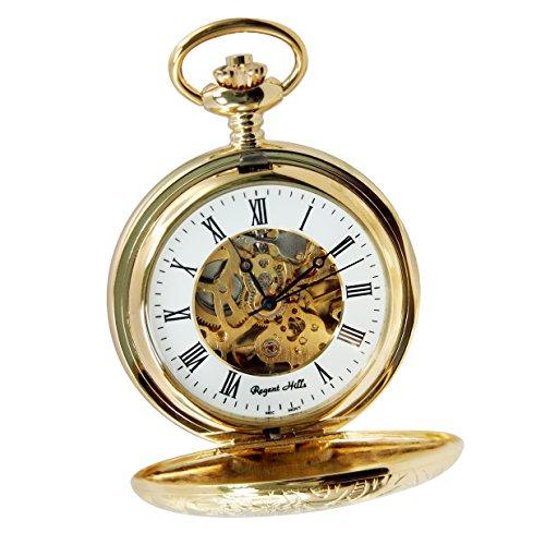Regent Hills Vintage Gold Plated Half Hunter Mechanical Pocket Watch With Chain 66523Gp-W2