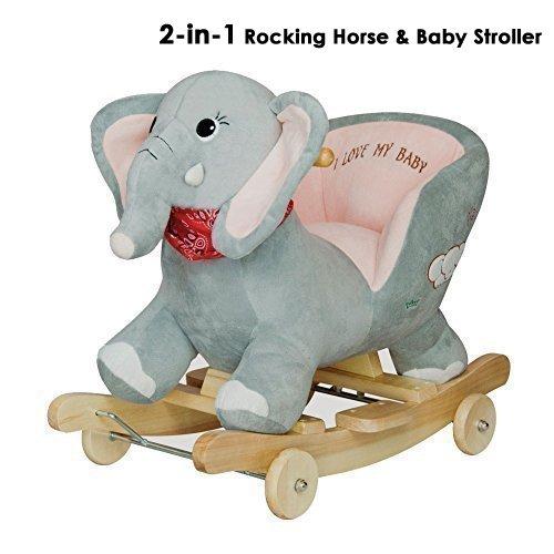 Rocking Animal Baby Rocking  Wooden Plush Elephant Rider with Safe Backrest & Wheels