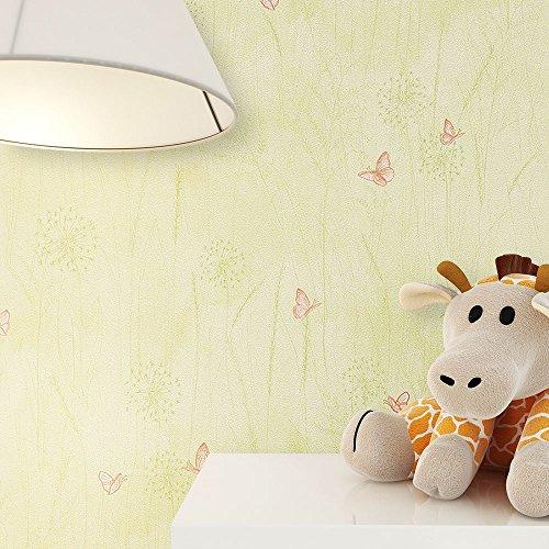 kindertapete gr n orange schmetterlinge blumen gras tiere s e tapete f r babyzimmer oder. Black Bedroom Furniture Sets. Home Design Ideas