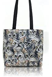 "US HANDMADE FASHION SHOULDER BAG WITH ""CATS FACES"" PATTERN HANDBAG PURSE, COTTON, NEW, BB 5110"