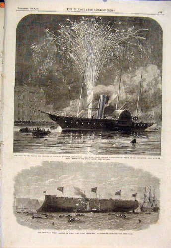 old-original-antique-victorian-print-royal-yacht-prince-princess-wales-clyde-osbourne-1864-45maa1