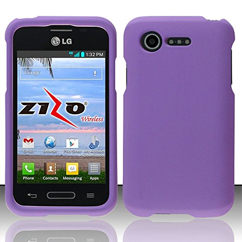 LG Optimus Fuel L34C Purple Rubberized Plastic Cover Snap On Hard Armor Gel Case Cell Phone Shield Protector Shell from [Accessory Library] (Lg Optimus Fuel Cell Phone compare prices)
