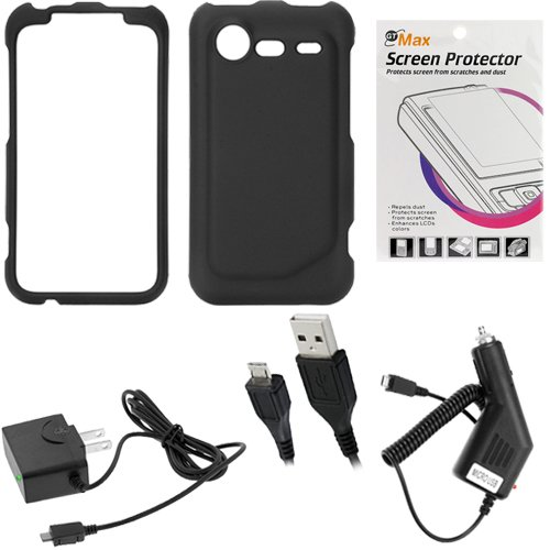 GTMax Black Rubber Hard Snap On Plastic Protector Cover Case + Clear LCD Screen Protector + Black Car Charger + Home Charger + Sync Transfer USB Data Cable for Verizon HTC 6350 DROID INCREDIBLE 2 Android Phone
