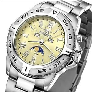 FIREFOX Mondphasenuhr FFS01-510 sunray saturngold massiv Edelstahl Damenuhr Herrenuhr Armbanduhr Sicherheitsfaltschließe 10 ATM wasserdicht