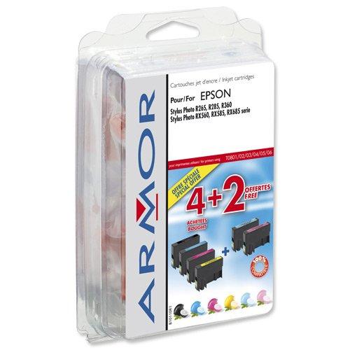 Armor - B10110R1 - Multipack de Cartouche compatible pour Imprimante Jet d'encre Epson Stylus Photo R265/ R285/ R360/ RX560/ RX585/ RX685/ P50/ PX650/ PX700W/ PX710W/ PX800FW/ PX810FW - Noir/CYM PCPM
