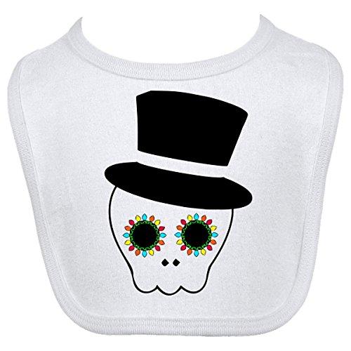 Inktastic Baby Boysâ€Tm Top Hat Sugar Skull Baby Bib One Size White front-671655