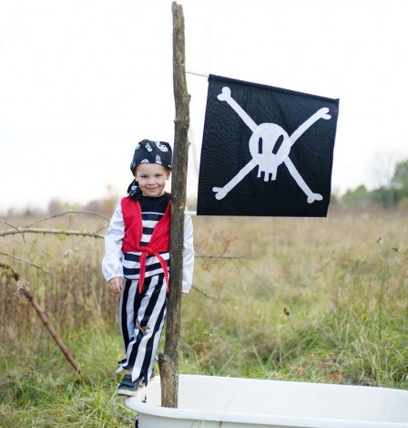 Great Pretenders Kids Pirate Mate Costume Set Medium Red & Black Stripes